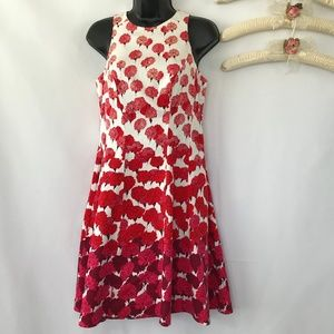 New York & Co Red & Pink Floral Dress